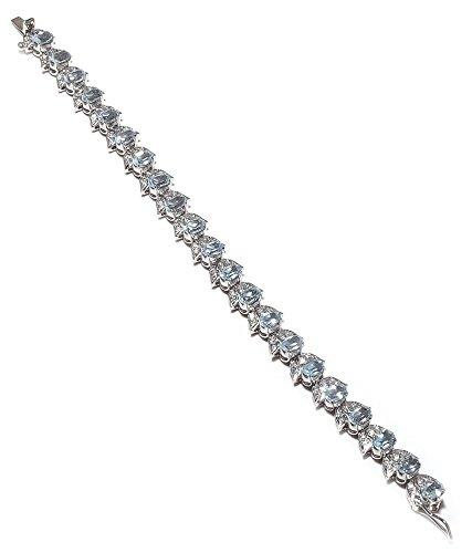 Be You plaqué gracieuse topaze bleue réelle pierres précieuses rhodium bracelet en argent sterling pour les femmes