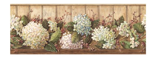 York Wallcoverings Best of Country HK4643BD Hydrangea Border, Khaki Country Garden Wallpaper Border