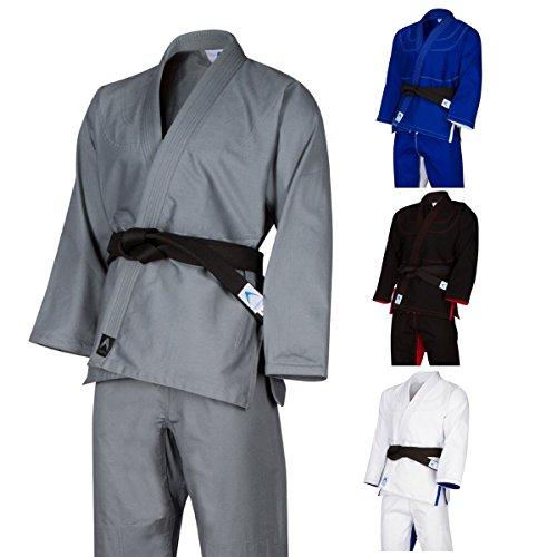 Athllete Jiu Jitsu Gi/Kimono/BJJ Uniform with Preshrunk Fabric and Free White Belt (A1, Grey)
