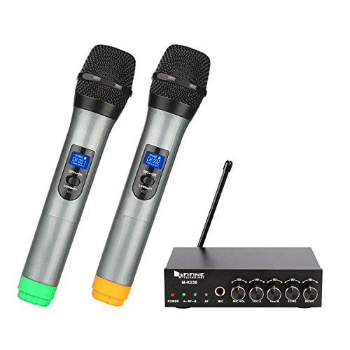 Fifine Dual Channel Wireless Handheld Microphone,easy-to-use handheld UHF wireless system.(K036)