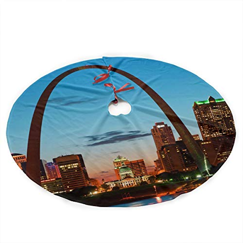 (YANGGE Christmas Tree Skirt St. Louis Skyline Xmas Ornament,Holiday New Year Party Decoration)