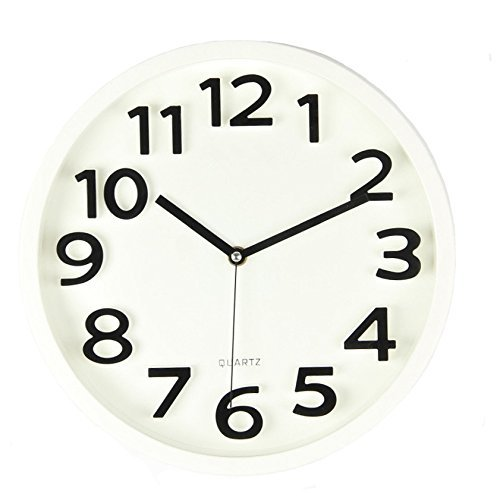 Harryup Large Number Wall Clock,12'' Silent Non-ticking Quartz Decorative Wall Clock, Kids Wall Clock - Modern Style Good for Living Room/Home/Office Battery Operated (White) by Harryup