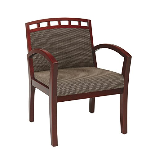 Visitor Chair with Cherry Wood Arms and Legs - Crown Back, Taupe