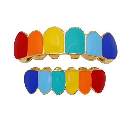 (Lywey 1 Pair (Upper/Lower) Newest Rainbow Hip Hop Teeth Top Bottom Tooth Grill Set Copper Tooth Cap Jewelry For Teeth Mouth Grills Fashion Dental Removable (Gold))