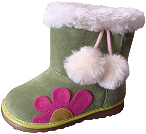 Jiazibb 100% Leather Nubuck Baby Girls Infant Toddler Prewalker First Walkers in Tube Snow Boots (Insole Length:140mm EUR 24, Green)