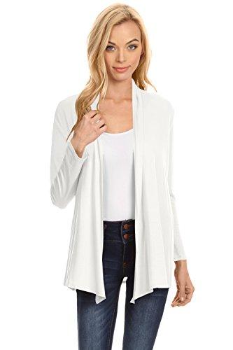 Womens Open Drape Cardigan Reg and Plus Size Cardigan Sweater Long Sleeves - USA (Size XXX-Large, Ivory)
