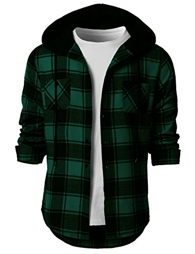 H2H Mens Casual Flannel Shirts Hoodie Jacket Green US XL/Asia 2XL (CMOJA0105) by H2H (Image #3)