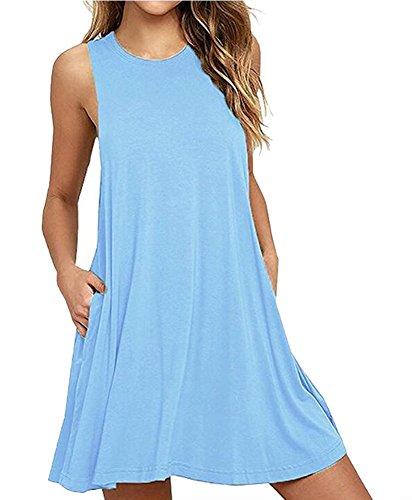 Camisunny Women Sleeveless T Shirt Dresses Fashion Summer Vest Dress Casual Loose Cotton Cheap Size C