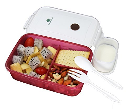 CameLunch Bento Lunch Box - 3-Compartment 1-Bowl with Spoon & Fork - 1000ml 34 oz Fits for Adults