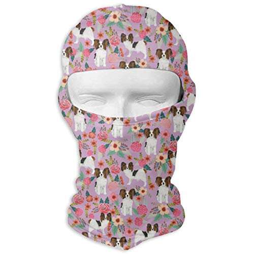 Papillon Florals Cute Dog Sweet Florals Vintage Floral Dogs Toy Spaniels Sun Mask Windproof Sunscreen Motorcycle Helmet Face Mask Outdoor Fishing UV Protection Balaclavas