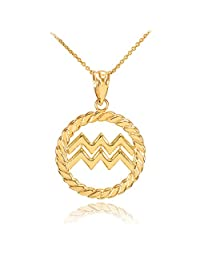 High Polish 10k Yellow Gold Roped Circle Zodiac Sign Aquarius Pendant Necklace