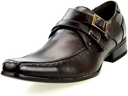 MM/ONE Mens Double Monkstrap Shoes Oxford Dress Shoes Memory Foam Insole Plain Cap Toe Dark Brown