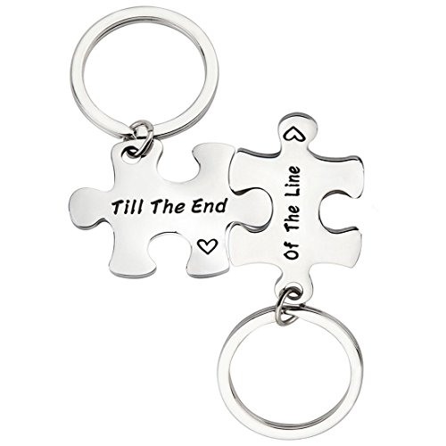 PLITI Couple Keychain Set Till The End Of The Line Puzzle Promise Keychain For Couples (Till The End Of The Line)