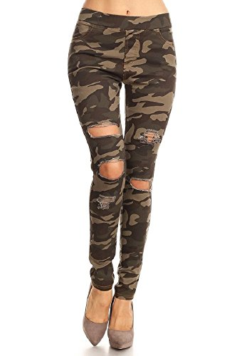 - Jvini Women's Pull-On Ripped Destroyed Stretch Skinny Denim Jeggings Plus Size (Large, Camo)