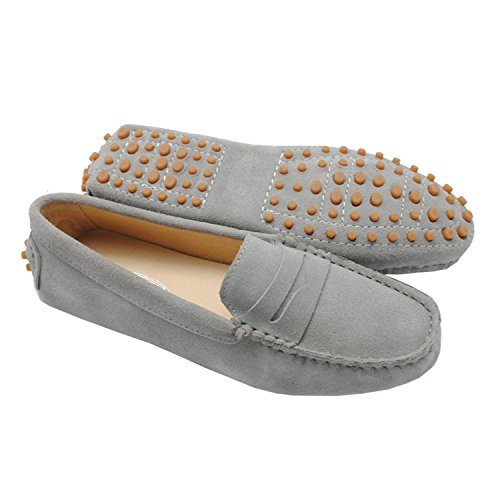 Minishion Girls Womens Casual Comfortable Gray Suede Leather Driving Moccasins Loafers Boat Shoes Flats 7 M US