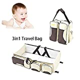 Portable Crib Changing Table Combo Travel Bassinet 3-in-1 Multipurpose Portable Crib - Baby Diaper Bag,Changing Pad Station,Portable Bassinet Playpen & Storage