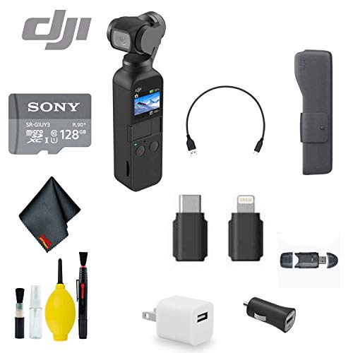 DJI Osmo Pocket Handheld 3 Axis Gimbal Stabilizer with Integrated Camera - Bundle with 128GB MicroSD Card