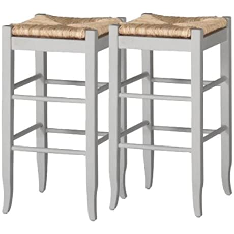 Boraam 4329 Square Rush Center Bar Height Stool 29 Inch White 2 Pack