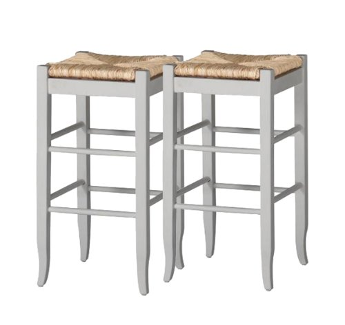 Boraam 4329 Square Rush Center Bar Height Stool, 29-Inch, White, 2-Pack (Style Dining Chairs Napoleon)