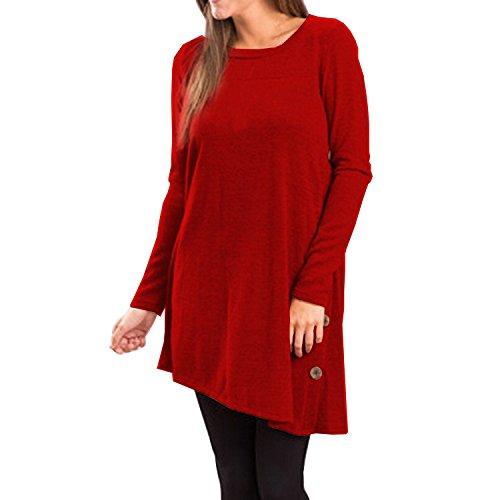 Shirt T Basique Pull Casual Tops Femme Semen Mode Cold Rouge shirt Manche Tunique Loose Sweat over RondAutomne Uni Hiver Longue PSqwpxB