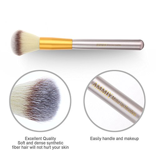 Ammiy Branded 18 Pcs Makeup Brush Set Professional Wood Handle Premium Synthetic Kabuki Foundation Blending Powder Brush Tool ( White Case Bag, Located In USA Get Delivered In 3-5 Working Days)