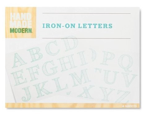 Hand Made Modern – Iron-on Transfer Letters – Blue – 4 Sheets