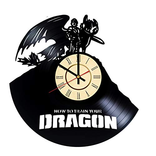 How to Train Your Dragon Vinyl Clock Gifts for DreamWorks Fans Toothless Wall Decor Viking Art Night Fury Handmade Living Room Artwork]()