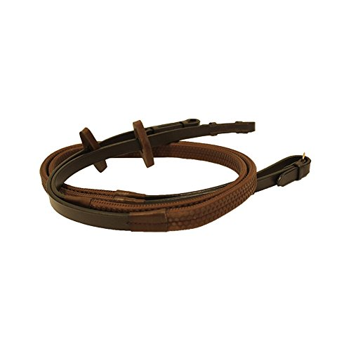 Rambo Micklem Rubber Reins - Brown - Pony