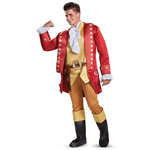 Deluxe Red Flapper Costumes (Disney Men's Plus Size Gaston Deluxe Adult Costume, Red, X-Large)