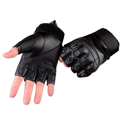 Campstoor Tactical Shooting Gloves Fingerless Half Finger Tactical Gloves with for Riding Motorcycle Airsoft Military Army Police Swat Combat Assault Tactical Gloves (Black, Large)