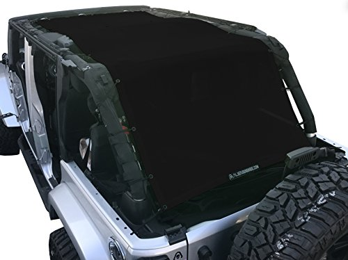 ALIEN SUNSHADE Jeep Wrangler Extra Long Mesh Shade Top Cover with 10 Year Warranty Provides UV Protection for Your 4-Door JKU (2007-2017) (Black) ()