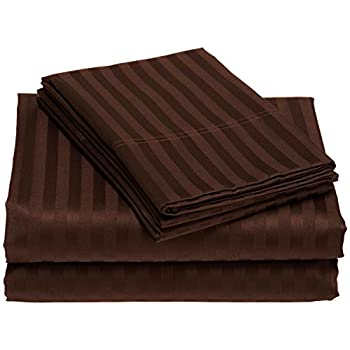 """Durable """"Chocolate"""" Striped Color 100% Egyptian Cotton Refreshed Feeling Sheet Set ( 4PCs ) With Large Deep Pocket 17"""" Inches King Size ( 1000 TC ) Made By Galaxy's Linen"""
