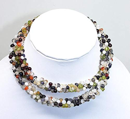 GemAbyss Beads Gemstone Mix Semi Precious Multi Color Drops Rope Gemstone Beaded Necklace/Semi Precious Beads/Gemstone Beads//Beaded Jewellery, Colorful, Feminine, Size-3-4mm Code-MVG-25457 (Drop Beaded Necklace Multi Color)