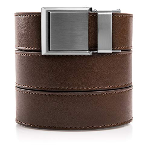 (SlideBelts Ratchet Belt with Square Buckle - Custom Fit (Mocha Brown Leather with Square Silver Buckle (Vegan), One Size))