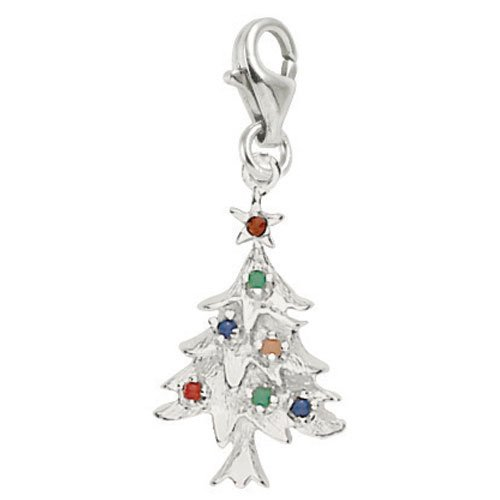 14k Gold Christmas Tree Charm - Rembrandt Charms Christmas Tree Charm with Lobster Clasp, 14k White Gold