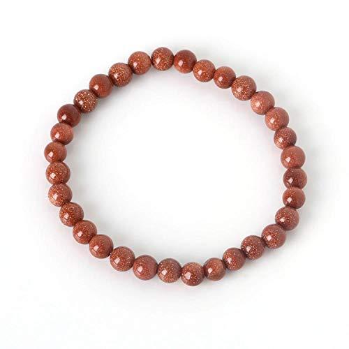 (6MM Natural Stone Bracelet for Women Men Tiger Eye Amythests Turquois Agat Beaded Yoga Stretch Bracelets Bangles Gold Sand)
