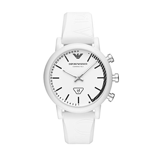 (Emporio Armani Men's 'Hybrid Smartwatch' Quartz Plastic and Silicone Fitness Watch, Color:White (Model: ART3025))