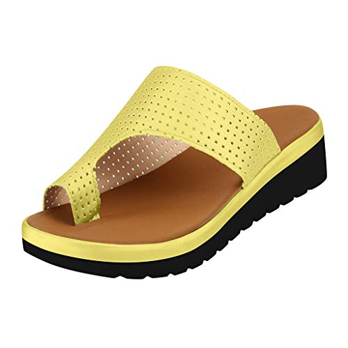 Dasuy Womens Slides Slippers Sandal with Arch Support Platform Wedges Sandals Comfortable Thick Bottomed Flip Flops Shoes (US:6, Yellow)
