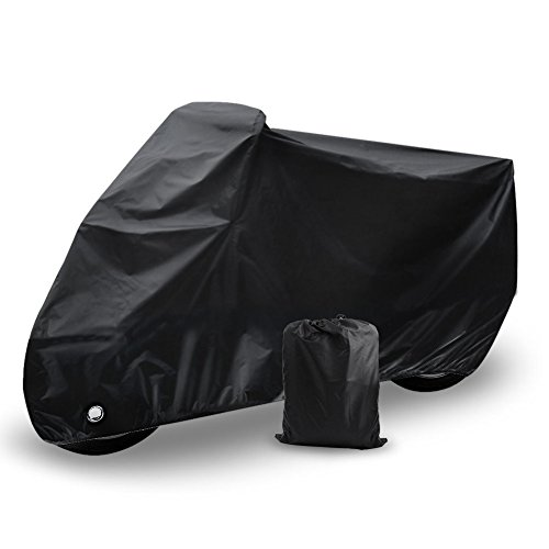 Motorcycle Cover Universal Fit Oxford Fabric Waterproof Breathable Rain Sun UV Dust Outdoor All Weather Protection with Lock Hole (Fits Motorbike up to 96'', Black) by LEDKINGDOMUS (Image #8)