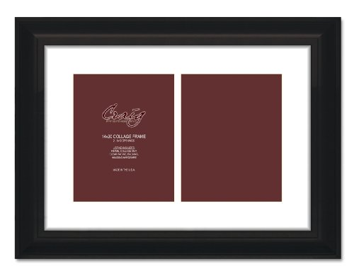 Craig Frames 21834700BK 14 by 20-Inch Black Picture Frame, Single White Collage Mat with 2-8 by 10-Inch (Page Frame)