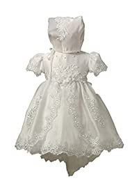 BuyBro Baby Girls Sequined Lace Christening Dresses Blessing Baptism Gowns 6M White