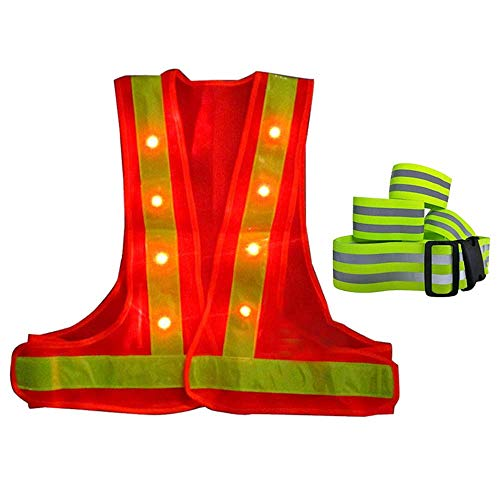MIGHTYDUTY LED Reflective Vest, Lightweight Road Safety Vest with 16 LED Lights Reflective Stripes 360 Degree High Visibility Night Safety Vest, Adjustable Size Universal (Safety Vests Lights)