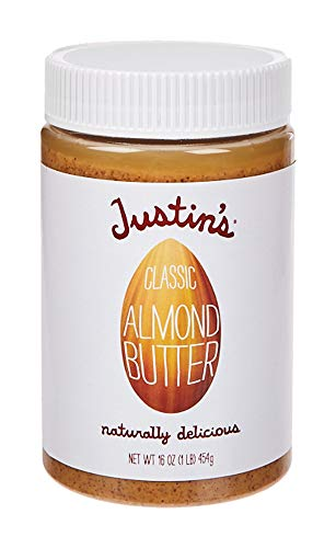 Classic Almond Butter by Justin's, Only Two Ingredients, No Stir, Gluten-free, Non-GMO, Keto-friendly, Responsibly Sourced, 16oz Jar