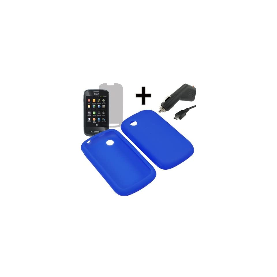 AM Soft Sleeve Gel Cover Skin Case for AT&T ZTE Avail Z990 + LCD + Car Charger Blue