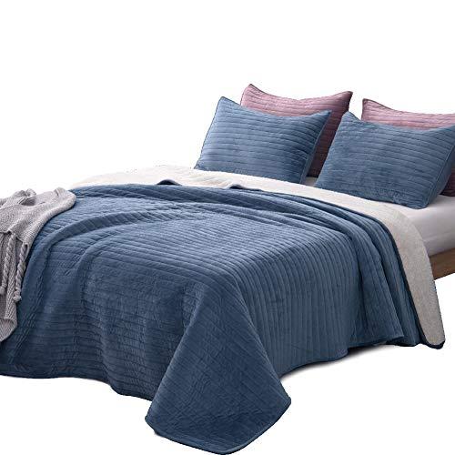 (DrimbringerLuxury Quilt Bedspread Bedding + Two Shams,Soft All-Season Flannel Cotton Blanket Full Size Velvet Quilted Coverlet Set (Blue, Queen + 2 Shams))