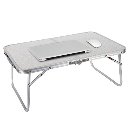 REDCAMP Foldable Mini Laptop Table, Portable Desk for Bed, Folds in Half-Silver -