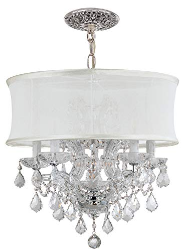 - Crystorama 4415-CH-SMW-CLS Crystal Accents Five Light Mini Chandeliers from Brentwood collection in Chrome, Pol. Nckl.finish,