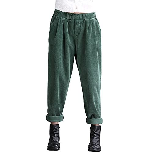 Duberess Women Trousers Casual Loose Cotton Corduroy Pants US8-12