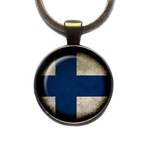 Amazon.com: Republic of Finland Finnish Flag Bronze Keychain Keyring: Handmade