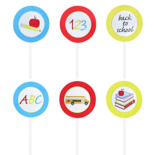 Price comparison product image Back To School Cupcake Toppers / Back To School Cupcake Decorations / Back To School Party Supplies,  24pcs